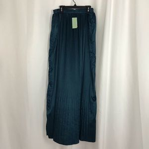 Teal Crinkle Maxi Skirt
